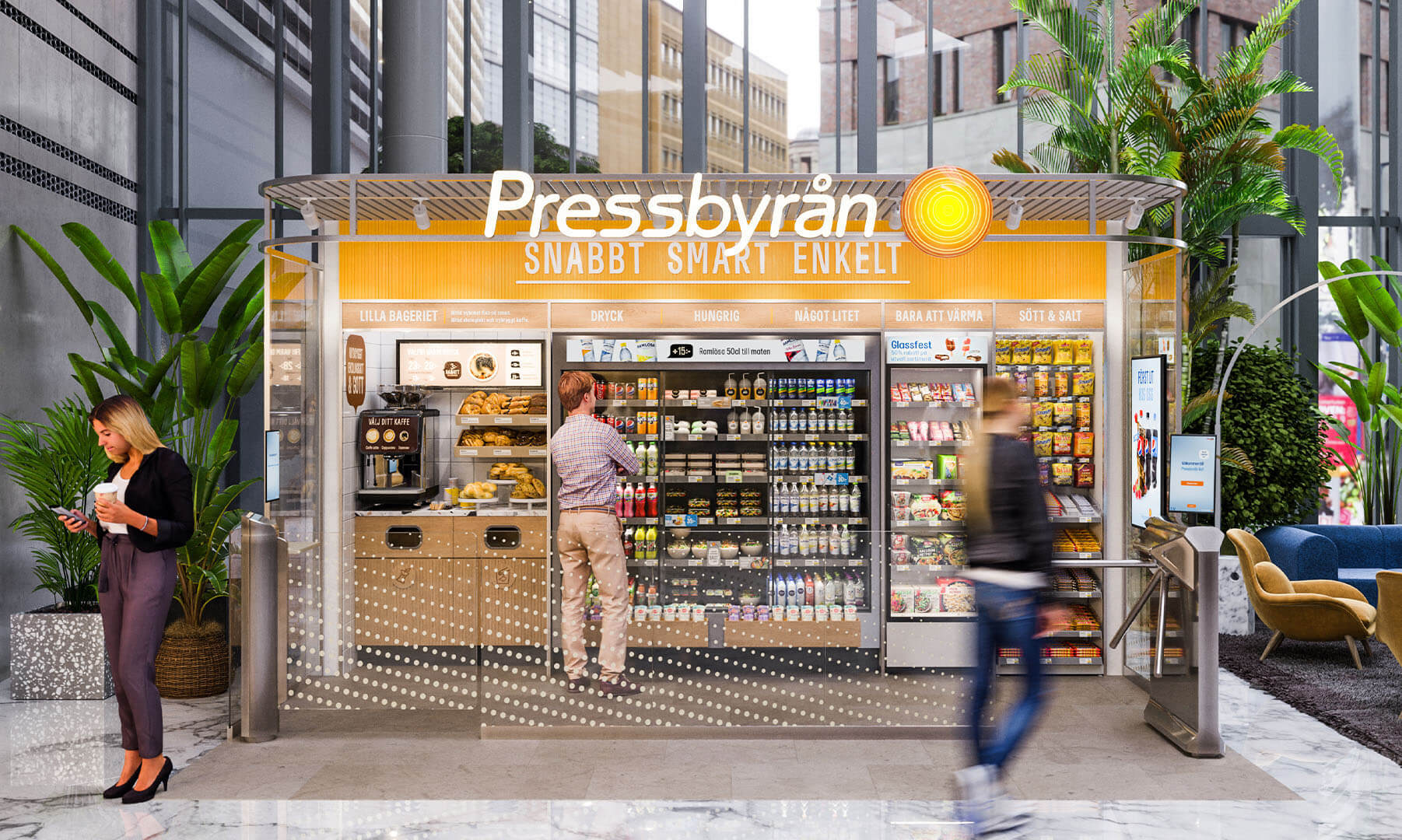 Frontal view of Pressbyran vending systems in action with a man and a woman browsing the products.